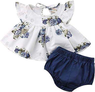 Ropa Bebe niña Verano Vestido de Camiseta Floral de niña recién ...