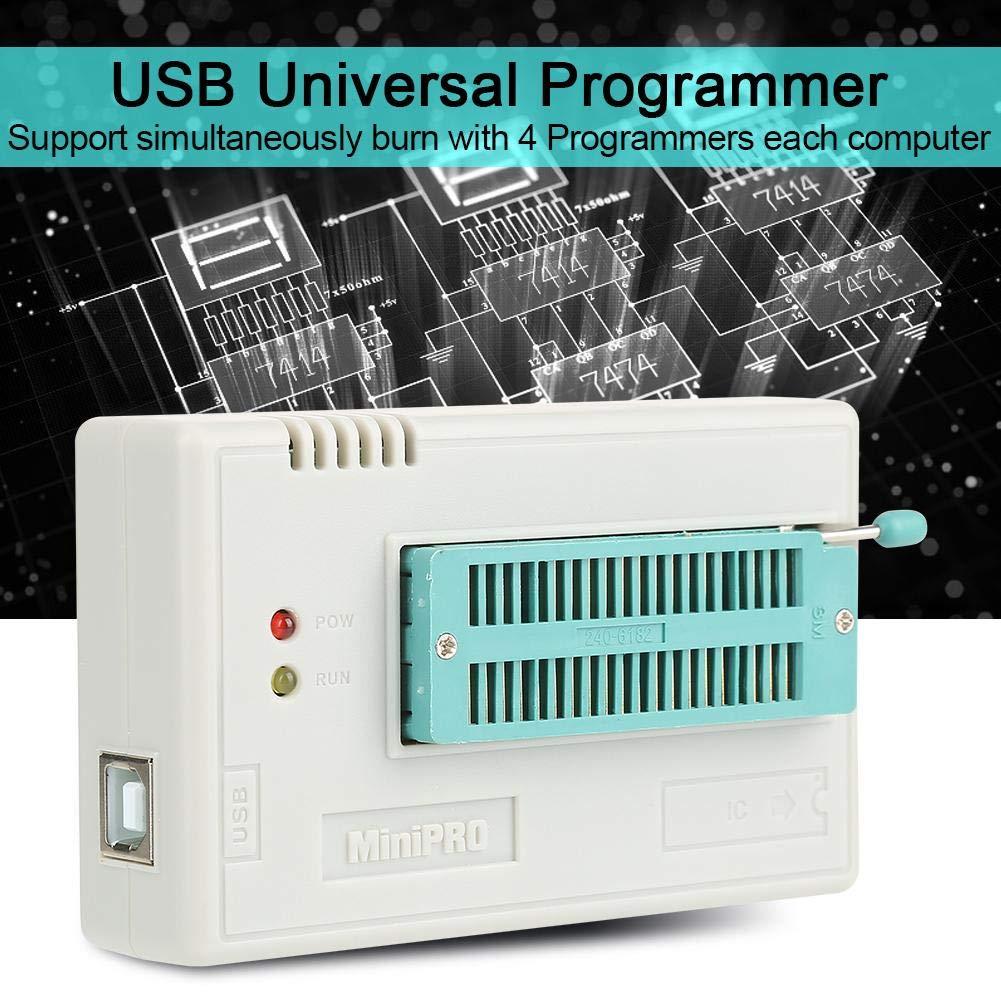 USB Programmateur Flash PIC Universel EEPROM FLASH 8051 AVR MCU GAL PIC Circuits Logiques Programmables TL866II Plus Kit Programmateur avec 10 Adaptateurs Programmateur USB