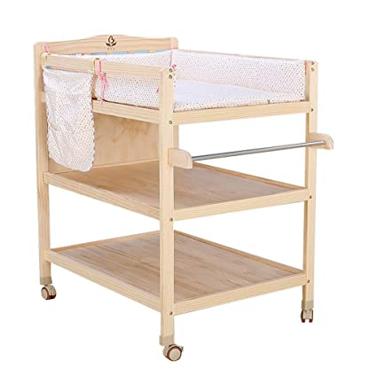 ZQ Wood Changing Table Dresser On Wheels With Mat, Nursery Baby Storage  Bath Tub Unit