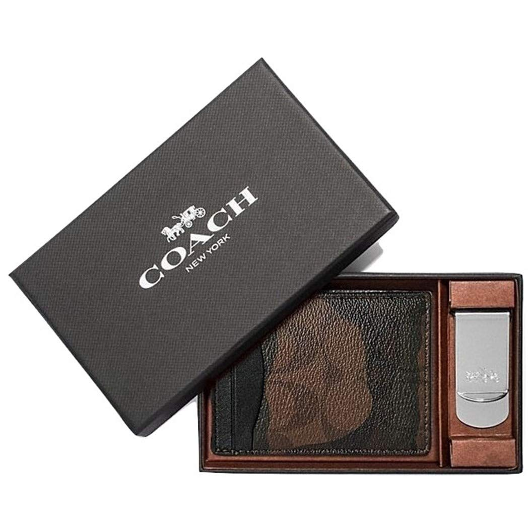 56f74a05 Coach Men's Boxed 3-In-1 Card Case & Money Clip Gift Set In Signature  Canvas With Halftone Camo Print