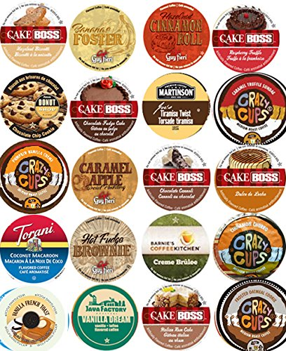 20 Cup NEW! Delicious DESSERT Inspired Flavored Coffee Sampler! Chocolate Fudge Cake, Peanut Butter Banana Cream Pie, Cinnamon Roll ++ YUMMY! 20 UNIQUE - Pecan Pie Mix