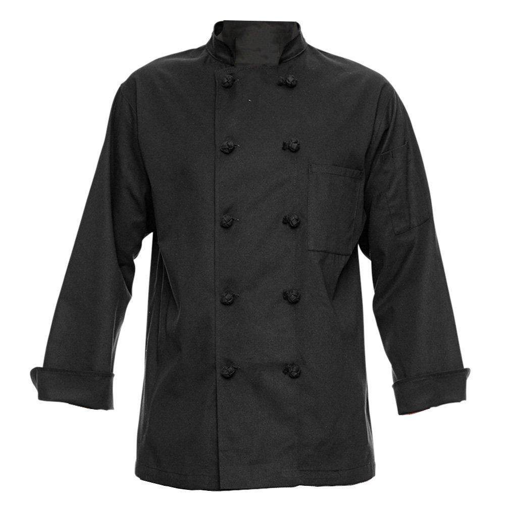 350 Chef Apparel 10 Knot Button Chef Coat-Easy-Care Twill,Black,Small