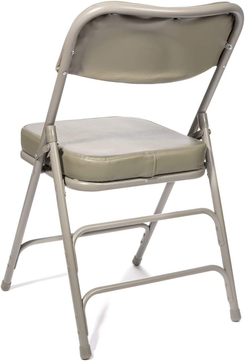 Triple Braced Beige 2 Pack - Heavy Duty Ultra Padded 2 Thick Padded Seat and Back Quad Hinging XL Series Fabric Upholstered Folding Chair 300 lb Tested