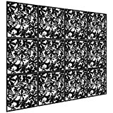 Kernorv DIY Room Divider Screens Made of Environmentally PVC, Simple and Modern Hanging Panel Screen for Decorating Bedding, Dining, Study and Sitting-Room, Hotel, Bar and School - Black (12 PCS )