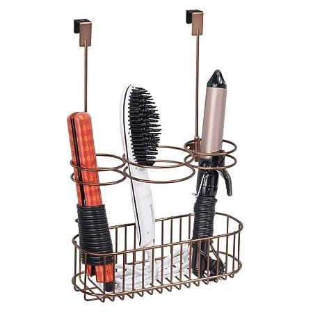 Plancha o cepillos Ideal Colgador para Puerta para Guardar el secador del Pelo Rosa Claro mDesign Soporte para secador de Pelo sin Taladro Organizador de ba/ño con 4 apartados para rizador