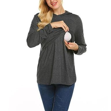 1c1697c838 Adoeve Women s Casual Loungewear Solid Long Sleeve Pregnancy Pajamas  Breastfeeding Nursing Hoodie S-XXL at Amazon Women s Clothing store