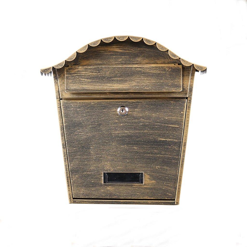 TLMY 鍛鉄ヨーロッパのヴィラの新聞の箱創造的な屋外の防水メールボックスの印刷精神的なメールボックスの屋外の壁掛け メールボックス   B07JVVZF8F