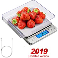 YX Digital Kitchen Scale Food Scale USB Rechargeable 3000g0.1g Food Scale Mini Pocket Jewelry Scale, Cooking Food Scale with Backlit LCD DisplayPCS Function - Battery Included