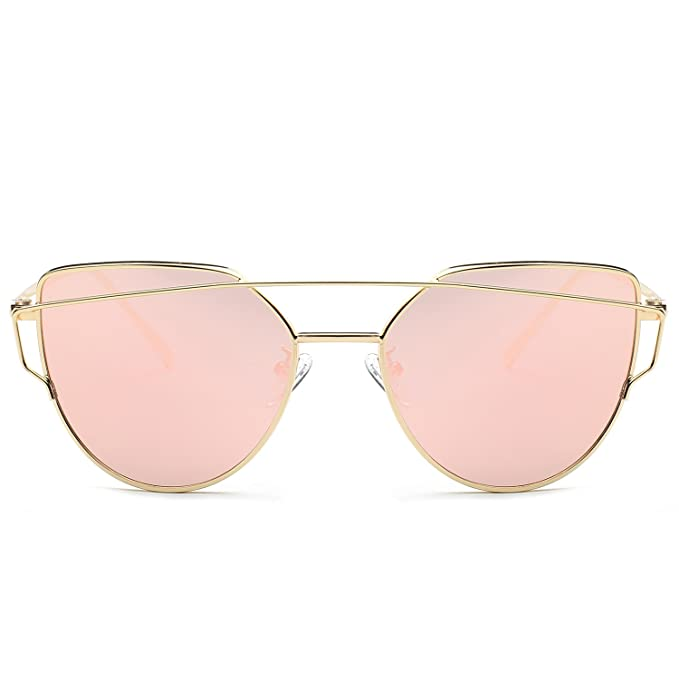 Amazon.com: Sojos Cat Eye Lentes Espejo plano Moda callejera ...