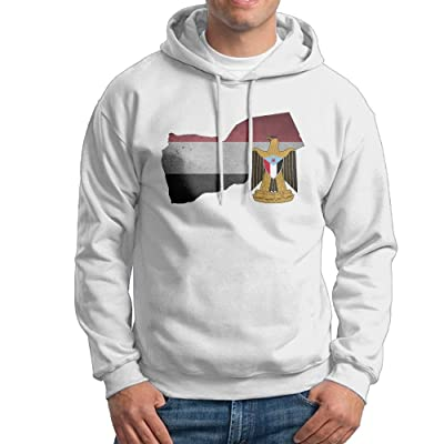 Men's Adult Print Coat Of Arms Of Yemen Flag Map & National Emblem Long Sleeves Hoodies Hooded Sweatshirt Pullover Sweater, Super Soft Hooded Sport Outwear For Men