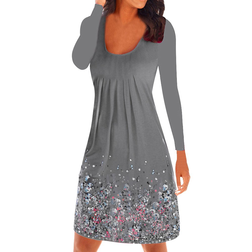 Winsummer Womens Casual Loose Plain Dresses Vintage Floral Printed T-Shirts Dress Plus Size Gray