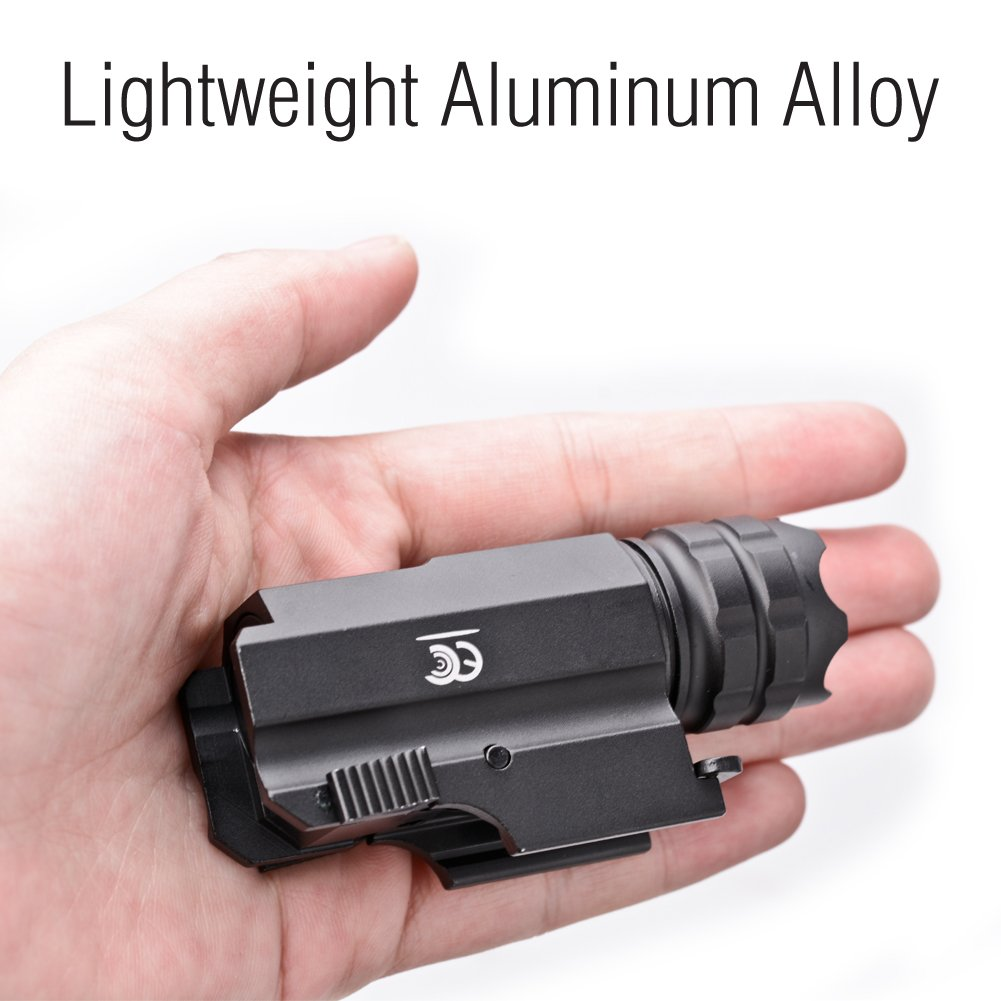 MCCC 230 Lumens LED Rail Mount Tactical Gun Flashlight Pistol Light with Strobe&Weaver Quick Release for Hunting, Black by MCCC (Image #6)
