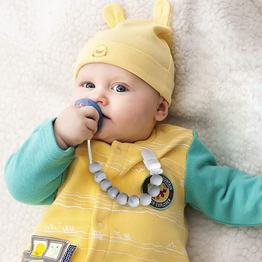 mejores regalos de Baby Shower Chupetes de Clip Beb/é Cadenas para chupetes Como regalos Clip de Chupete Soothie chupete Holder /& Binky Clips Gray