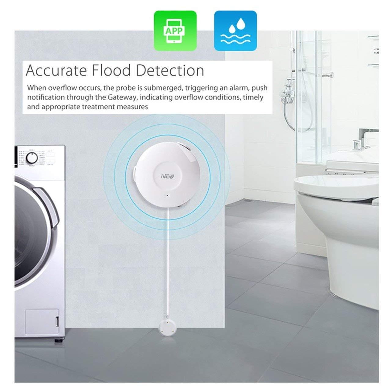 NAS-WS02W Smart Water Sensor WiFi Flood Sensor Home Automatic Alarm System Leak Detector App Notification No Hub Operated