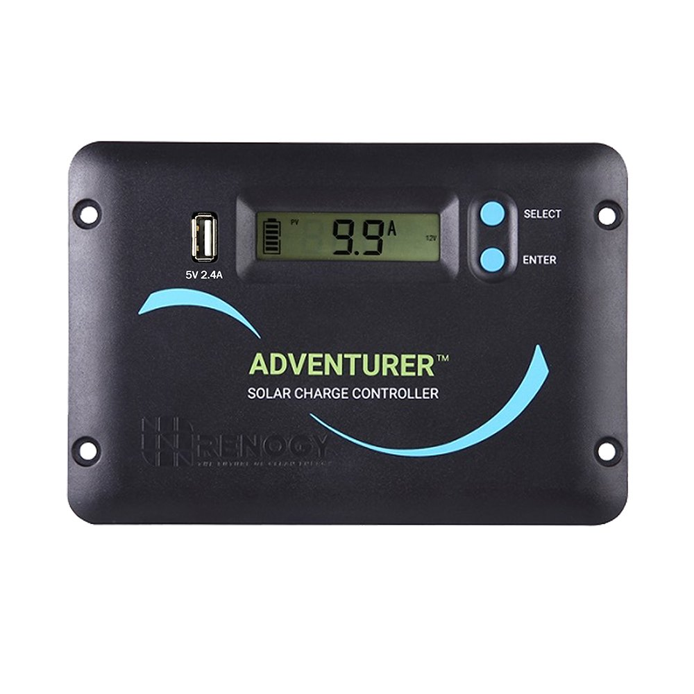 Renogy Adventurer 30A 12V/24V Negative Ground PWM Flush Mount Charge Controller with LCD Display, Compatible with Sealed, Gel, Flooded and Lithium Batteries by Renogy