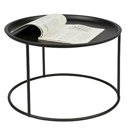 Beistelltisch Couchtisch Ivar O 56 Cm Tisch Kaffeetisch Tablett Metall Schwarz