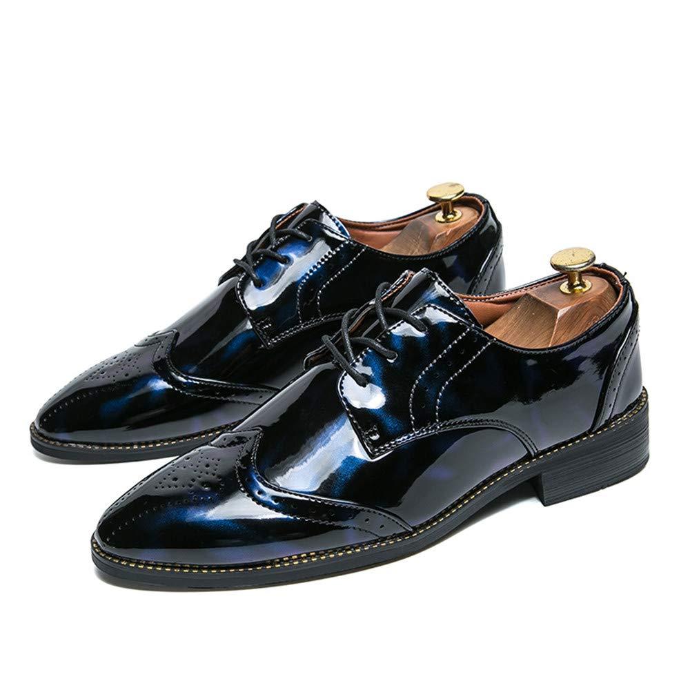 Zapatos de Vestir Oxford para Hombre Los Zapatos de Cuero Brogue de Punta de ala Cap-Toe con Cordones Oxford Negro (Color : Azul, tamaño : 38 EU): ...