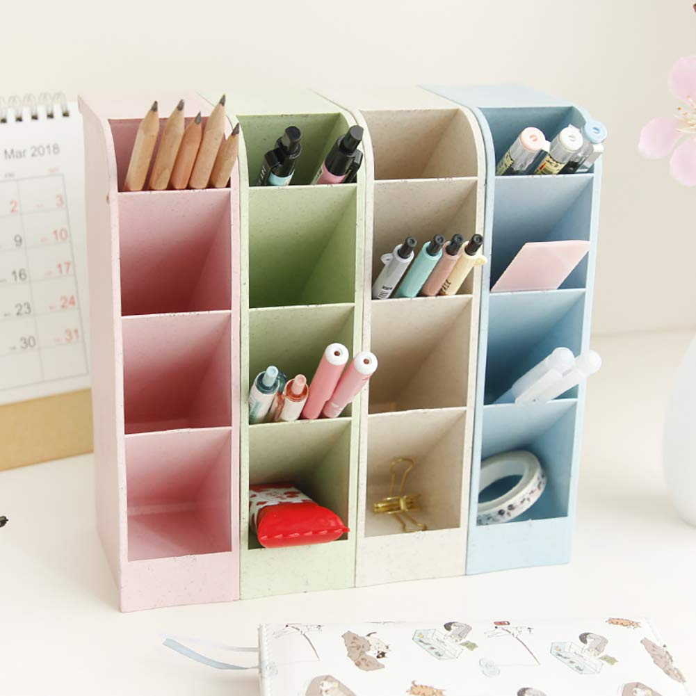 Desk Pen Pencil Organizers for Office Supply Makeup Stationery Marker Pen Pencil Brush Craft Storage Container Holder Tray Organizer for Kids Teens Girls Adults 4PCS