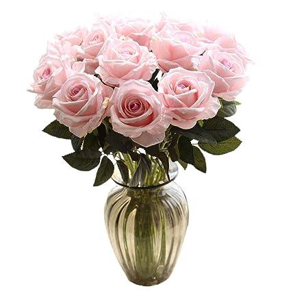 Amazon artificial flowersfake flowers bouquet silk roses real artificial flowersfake flowers bouquet silk roses real touch bridal wedding bouquet for home garden mightylinksfo