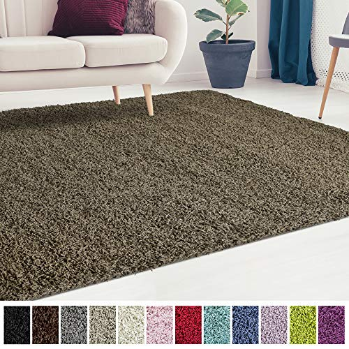 iCustomRug Cozy and Soft Solid Shag Rug 10X12 Taupe/Light Brown Ideal to Enhance Your Living Room and Bedroom Decor ()