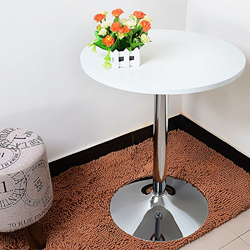35 Inches Round Bar Table Adjustable Height Chrome Metal and Wood Cocktail Pub Table MDF Top 360°Swivel Furniture (White 1) by PULUOMIS (Image #7)