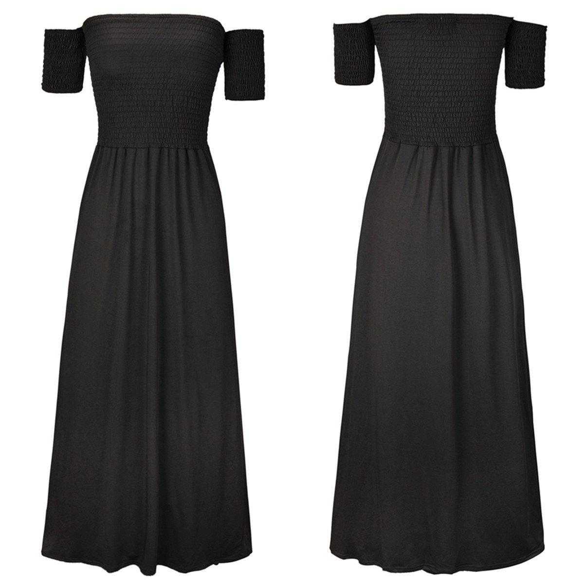 Moda Vestido | Vestido para mujer Vestidos europeos y americanos | Una palabra collar, falda larga de manga corta color puro | | | vestido de noche vestidos ...