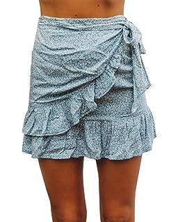 4dd47eb3f Jeanewpole1 Womens Floral A Line Mini Skirts Wrap Pleated Ruffle Hem Cute Beach  Short Skirts