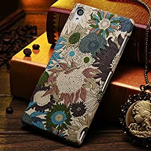 Fashion Flower Skin PC Case for SONY Xperia Z3 D6603 D6643 D6653 Vintage Polyester Skin Plastic Phone Back Cover Shell --- Color:NO 1