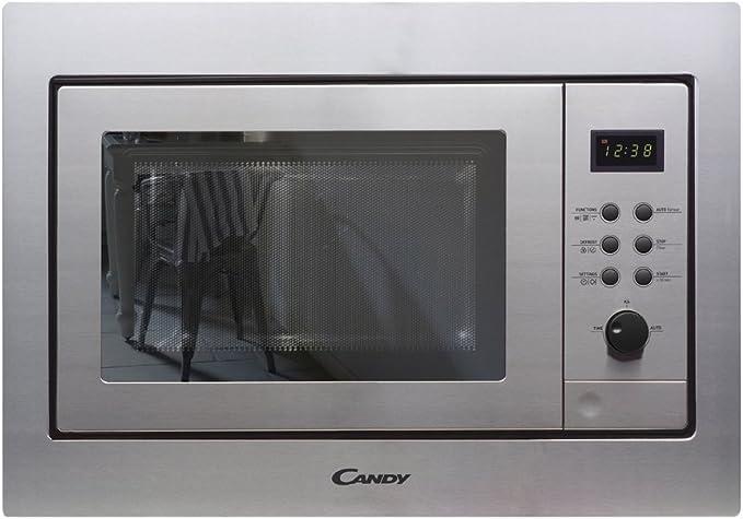 Candy MIC211EX - Microondas integrable con grill, Capacidad 21L, Plato giratorio 24,5cm, Display digital, Potencia 800W-1000W, 8 Programas, Acero inoxidable antihuellas: 120.37: Amazon.es: Hogar
