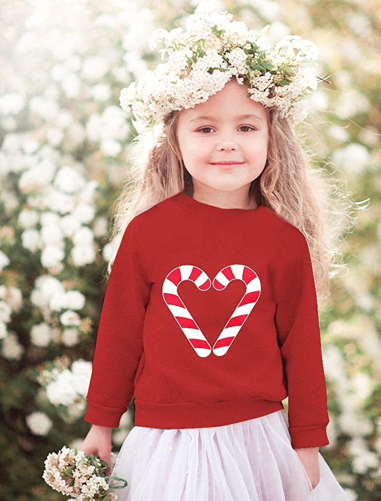 Tstars Christmas Candy Cane Heart Gift Toddler//Kids Sweatshirt