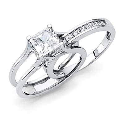 e21f1b7c8525a Solid 14k White Gold 2 Ct. Bridal Set Princess Cut Solitaire Engagement  Ring with Wedding Band
