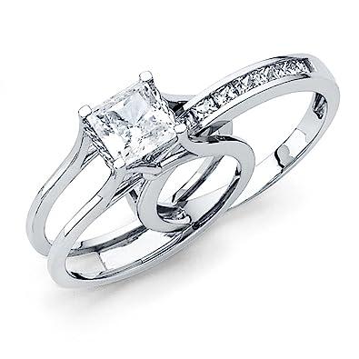 Amazon Com Solid 14k White Gold 2 Ct Bridal Set Princess Cut