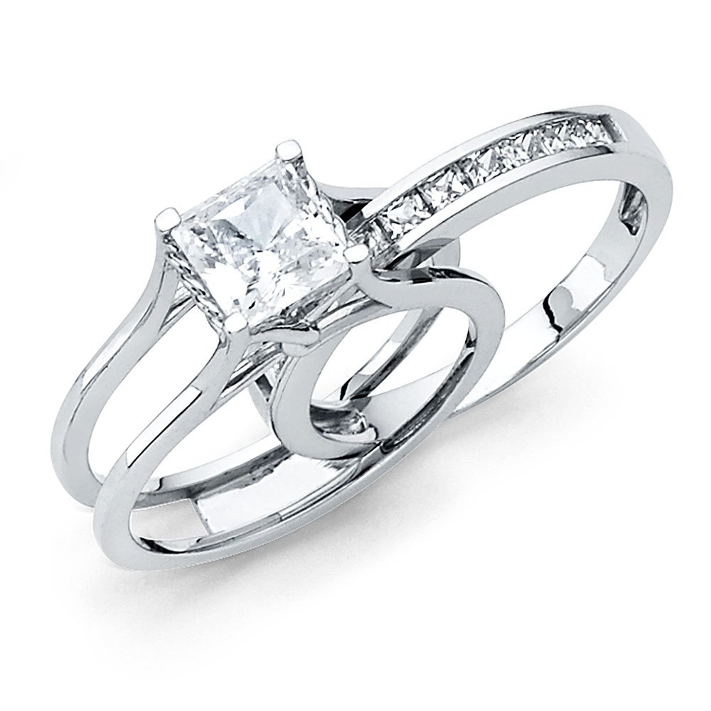 Size 8 - Solid 14k White Gold Bridal Set Princess Cut Solitaire Engagement Ring with Matching Channel Set Wedding Band, Authenticated with a 14k Stamp 2.0ct.