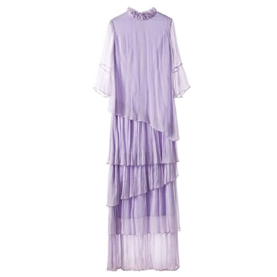 Wonderful-Girls-Show Mulberry Silk Cascading Ruffle Fairy Retro Elegant Style Princess Party Beach Long Fringed Dresses at Amazon Womens Clothing store: