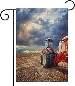 """Adowyee 28""""x 40"""" Garden Flag Tractor Working Farm Modern Agricultural Transport Farmer in The Outdoor Double Sided Decorative House Yard Flags"""