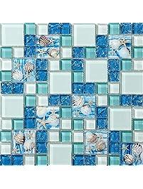 tst mosaic tiles glass conch tiles beach style sea blue green glass tile wall art kitchen