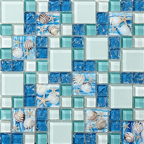 TST Mosaic Tiles Glass Conch Tiles Beach Style Sea Blue Glass Tile Glass Mosaics Wall Art Kitchen Backsplash Bathroom Design by TST MOSAIC TILES