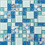 Kitchen Floor Tile Designs TST Mosaic Tiles Glass Conch Tiles Beach Style Sea Blue Glass Tile Glass Mosaics Wall Art Kitchen Backsplash Bathroom Design