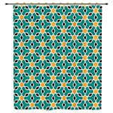 iPrint Shower Curtain,Arabian,Arabic Oriental Geometric Shapes Lines with Pastel Middle East Art Persian,Teal Yellow Brown,Polyester Shower Curtains Bathroom Decor Sets with Hooks