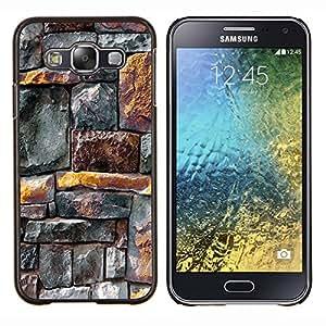 BearCase / Cubierta de protección Caso duro de la contraportada de Shell Plástico /// Samsung Galaxy E5 E500 /// Líneas patrón de la pared rústica Oro Gris
