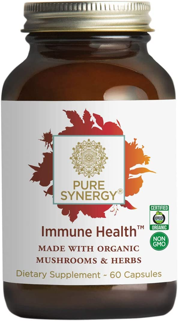 Pure Synergy Immune Health 60 Capsules Daily Immune Supplement w Mushrooms, Astragalus, Fucoidan, Beta-1,3-Glucan