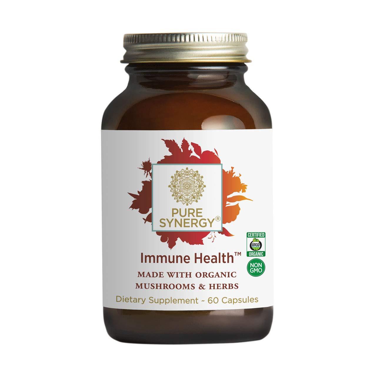 Pure Synergy Immune Health 60 Capsules Daily Immune Supplement w Mushrooms, Astragalus, Fucoidan, Beta-1,3-Glucan