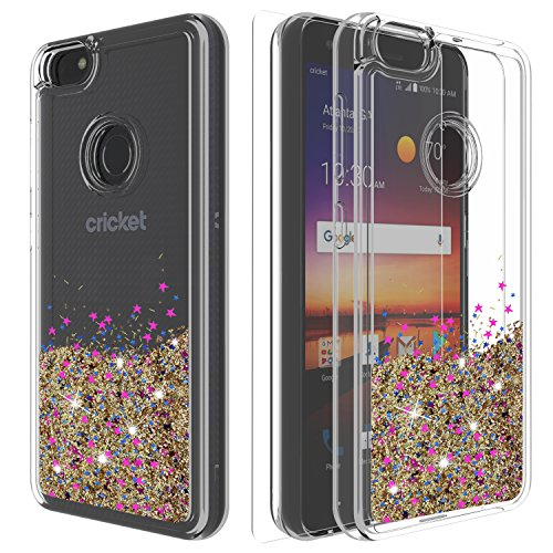 ZTE Blade X Case,ZTE Blade X Z965 Case,ZTE Z965 Case with HD Screen  Protector,Ayoo Teen Girls Women Bling Liquid Luxury Glitter Sparkle Soft  TPU+PC