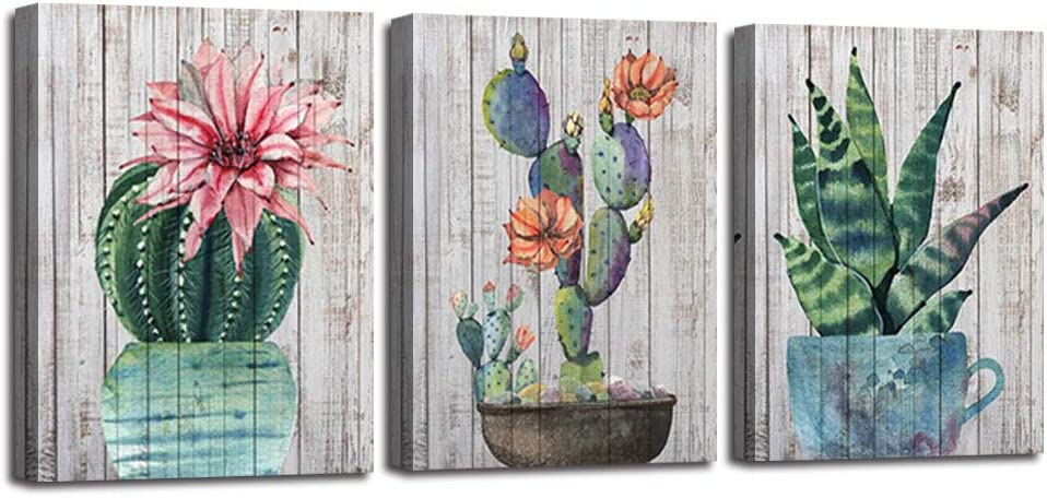 Arjun Cactus Canvas Wall Art Watercolor Cacti Pictures Plants Painting Pink Flowers Prints Tropical Succulent Artwork Framed For Bedroom Bathroom Living Room Kitchen Home Office Decor 12 X16 X3 Panels Everything Else