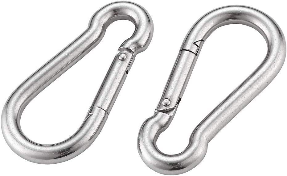 Yistargjqw Carabiner 2PCS Spring Snap Hooks 304 Stainless Steel Clips Heavy Duty,3.2 inch, for Camping, Key Chain, Ropes Connect and Dog Leash
