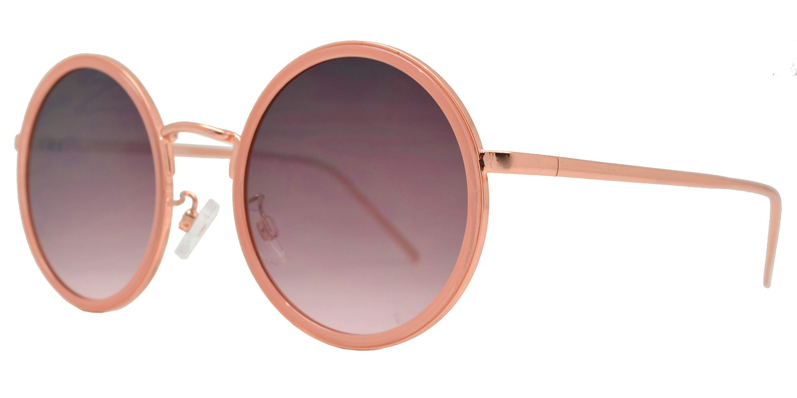 Froya Round Circle Sunglasses Retro Vintage Inspired Style Women (Pink + Pink Smoke) by Froya