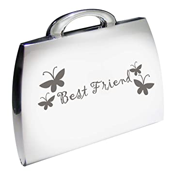 d311d7e643f Amazon.com   Silver Finish Engraved Best Friend Handbag Shape Compact Mirror  with Butterflies Great Gifts Idea for Birthday Gift Christmas Friends  Presents ...