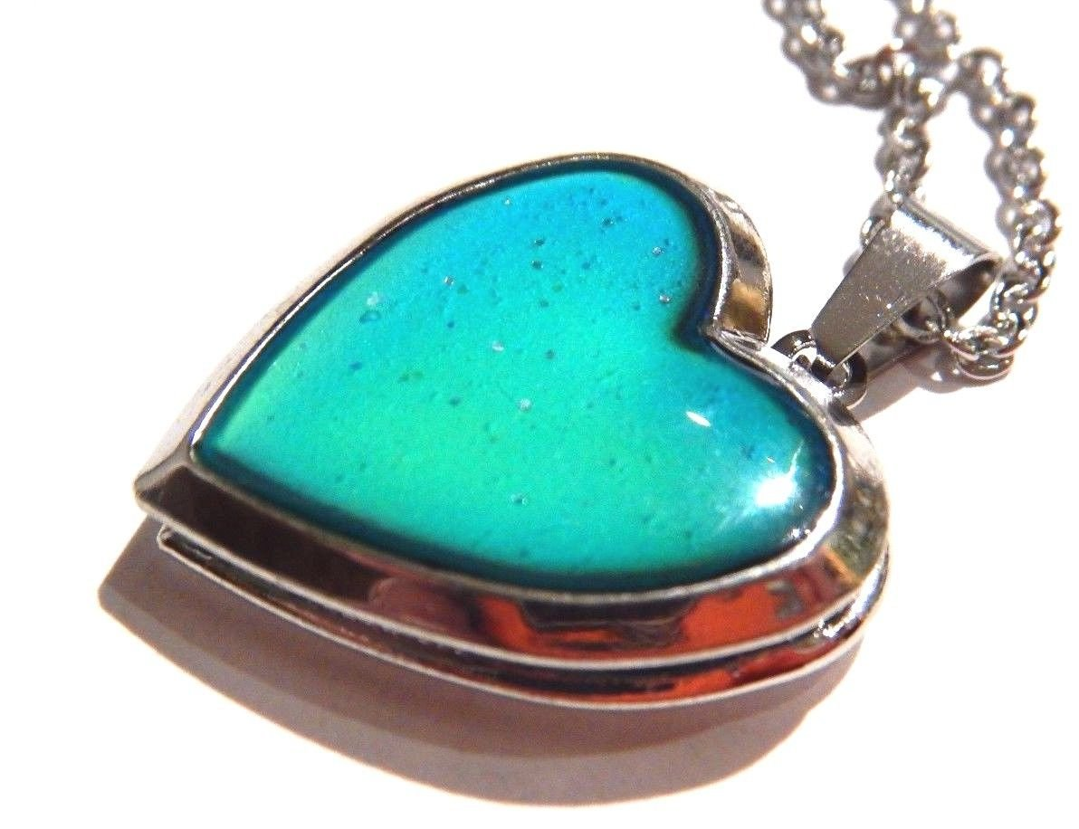 Glitter Heart Locket Mood Pendant on Silvertone Chain Necklace Color-Changing thermochromic by Unknown