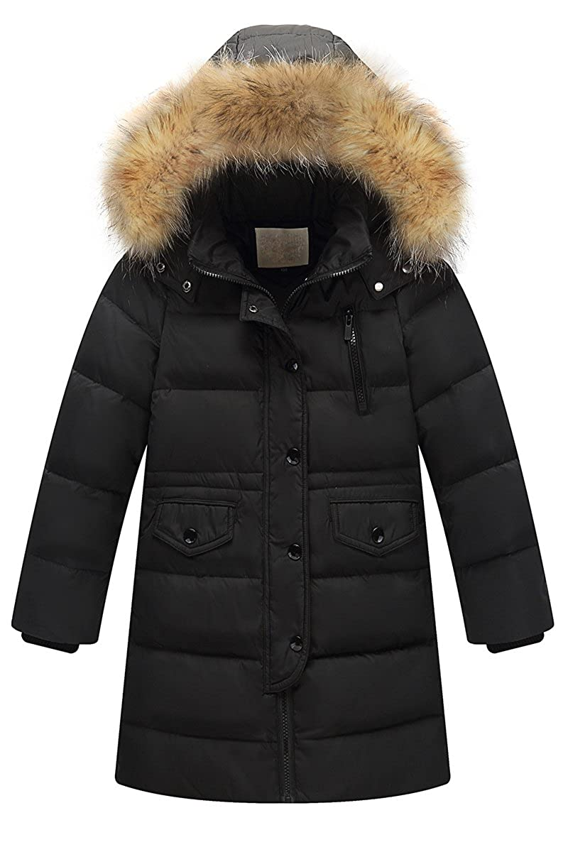 Bai You Mei Big Girls Boys Winter Fashion Down Coat Puffer Jacket with Faux Fur Hood
