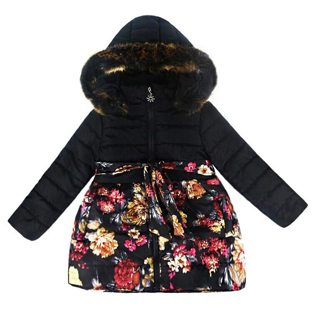WARMSHOP Winter Coats for Toddler Kids Girls Floral Print Fur Hooded Autumn Winter Warm Windproof Coat Zipper Outdoor Jacket